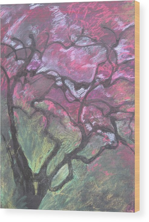 Pastel Wood Print featuring the drawing Twisted Cherry by Leah Tomaino