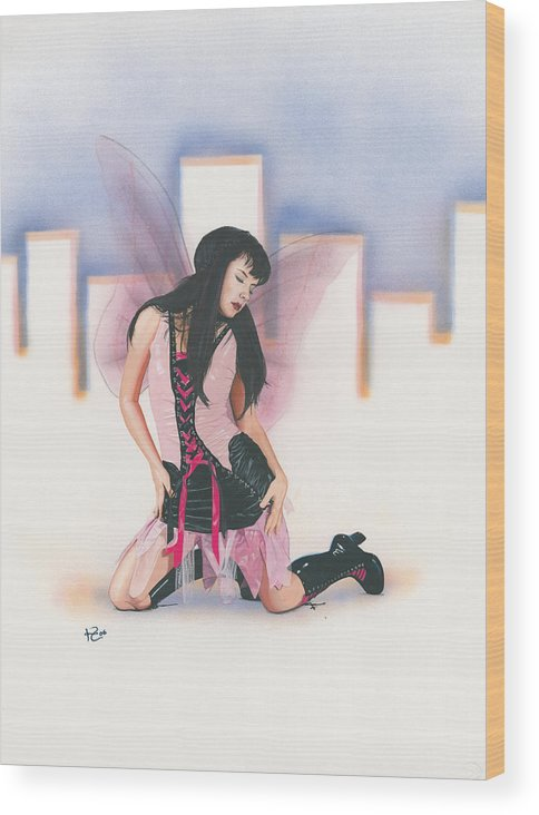 Fantasy Wood Print featuring the painting Urban Pixie by Kevin Clark