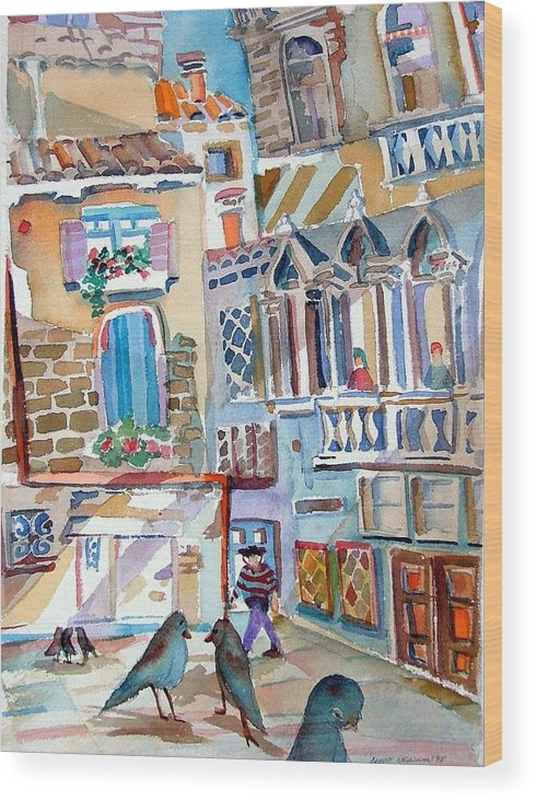 Venice Wood Print featuring the painting Venice is Sinking by Mindy Newman