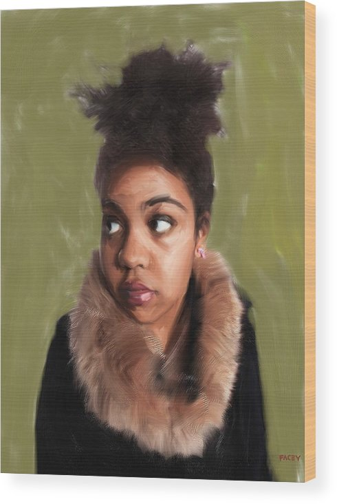 Portrait Wood Print featuring the painting Vita the Muse by Michael Facey