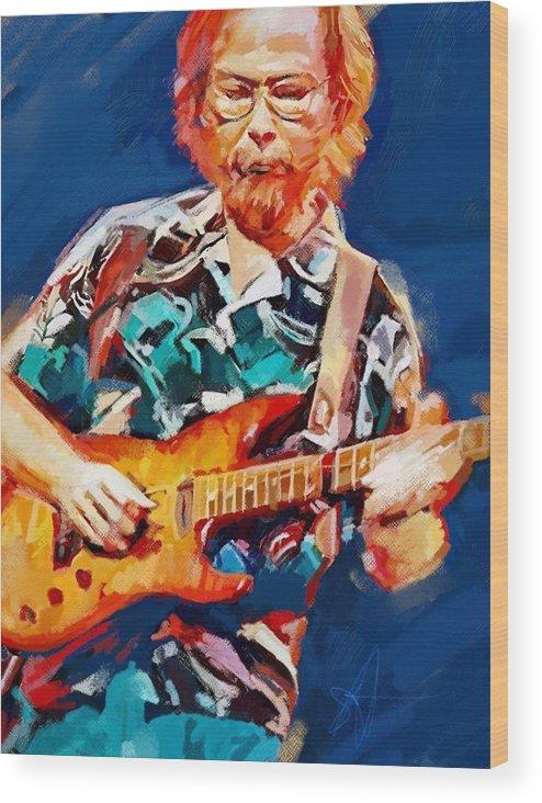 Walter Becker Music Portrait Musician Rock Steeley Dan Wood Print featuring the digital art Uncle Walter by Scott Waters