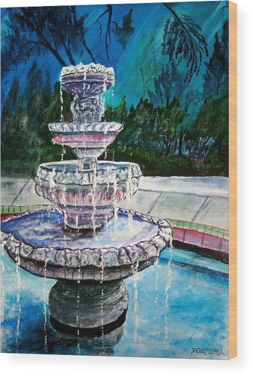 Acrylic Wood Print featuring the painting Water Fountain Acrylic Painting Art Print by Derek Mccrea