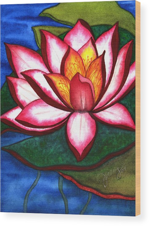 Watercolor Wood Print featuring the painting Waterlily by Stephanie Jolley