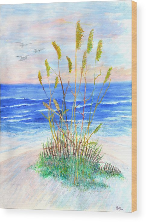 Sea Oats Wood Print featuring the painting Whispering Sea Oats by Ben Kiger