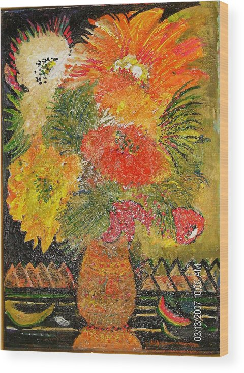 Red Wood Print featuring the mixed media Wild and Crazy Bloomers by Anne-Elizabeth Whiteway
