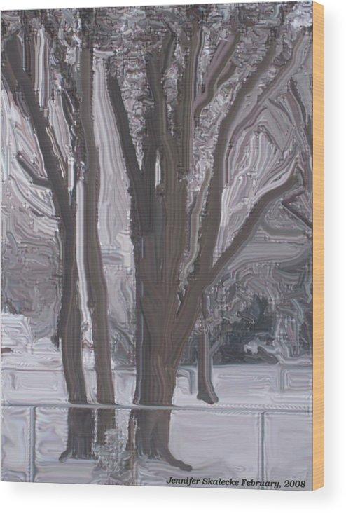 Landscape Wood Print featuring the digital art Winter Trees by Jennifer Skalecke