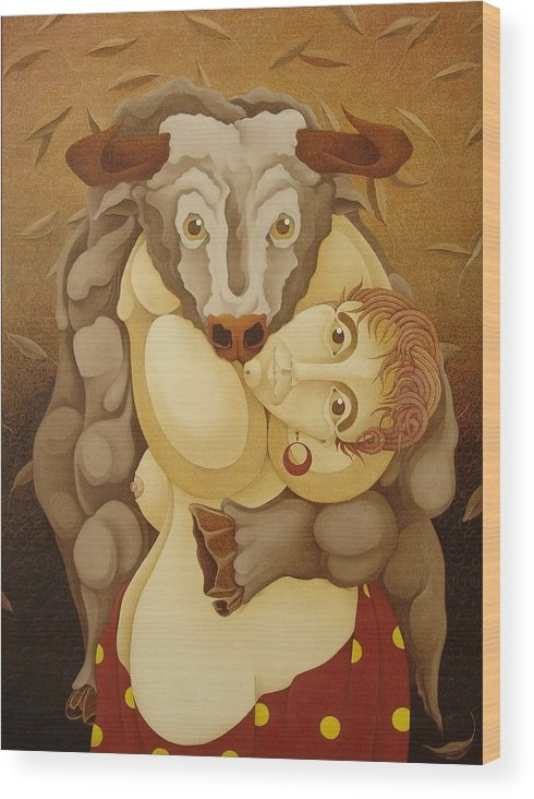 Sacha Wood Print featuring the painting Woman Embracing Bull 2005 by S A C H A - Circulism Technique