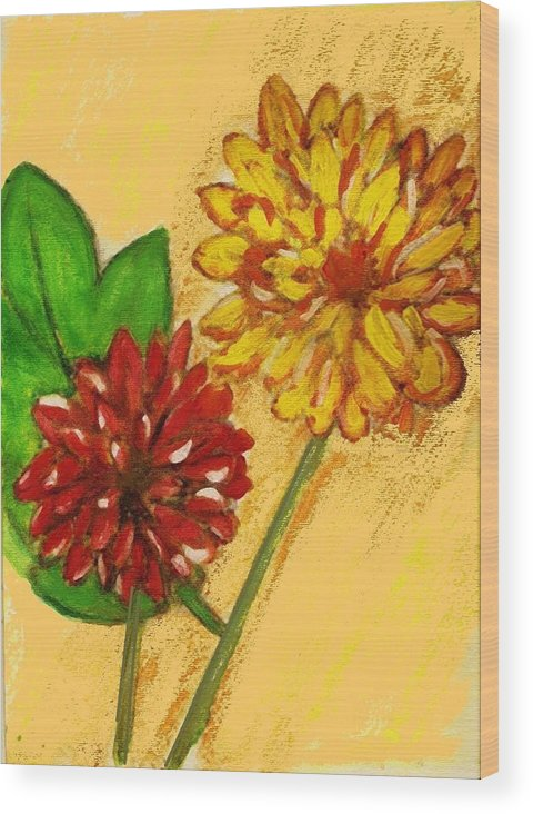 Flowers Wood Print featuring the painting Yellow And Red Chrysanthemums by Joseph Ferguson