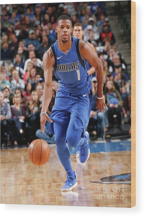 Nba Pro Basketball Wood Print featuring the photograph Philadelphia 76ers V Dallas Mavericks by Glenn James