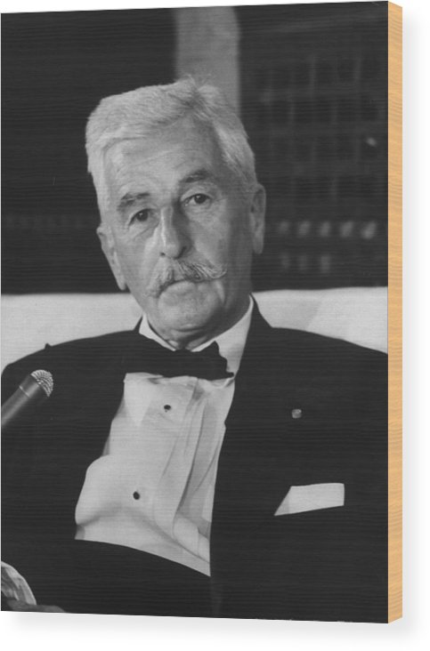 Timeincown Wood Print featuring the photograph William Faulkner by Carl Mydans