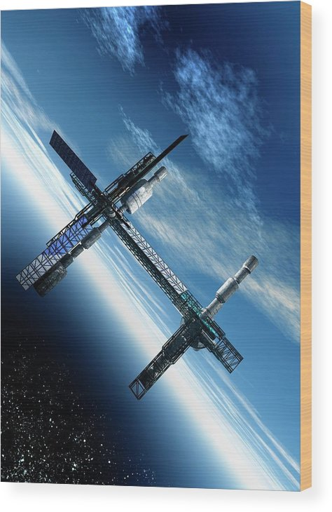 Solar System Wood Print featuring the digital art Space Station, Artwork by Victor Habbick Visions