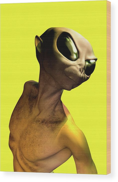 Looking Over Shoulder Wood Print featuring the digital art Alien, Artwork by Victor Habbick Visions
