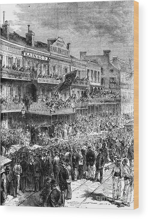 Democracy Wood Print featuring the drawing A Street In New Orleans On Election by Print Collector