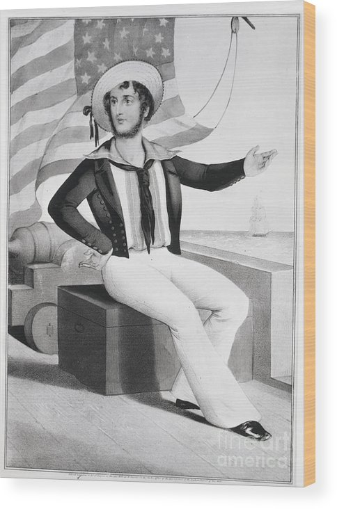 People Wood Print featuring the photograph American Sailor Lithograph by Bettmann