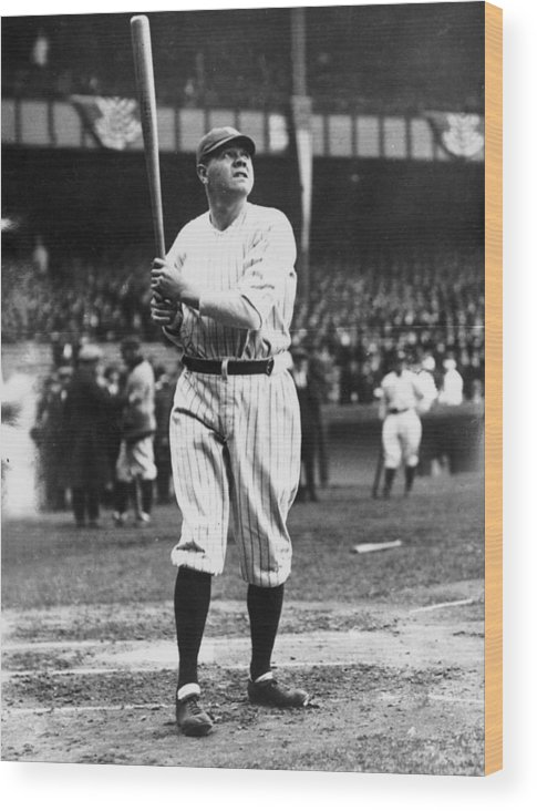 People Wood Print featuring the photograph Babe Ruth Batting For Ny Yankees by Topical Press Agency
