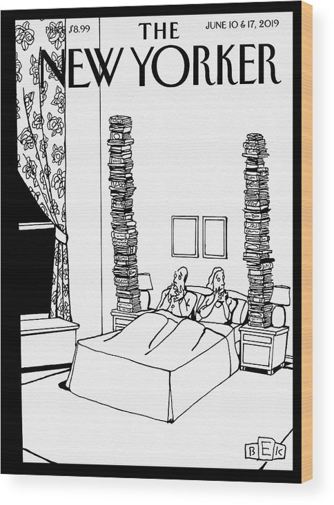 Bedtime Stories Wood Print featuring the drawing Bedtime Stories by Bruce Eric Kaplan