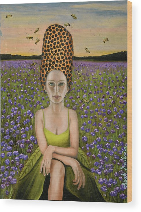 Beehive Al Wood Print featuring the painting Beehive Al by Leah Saulnier