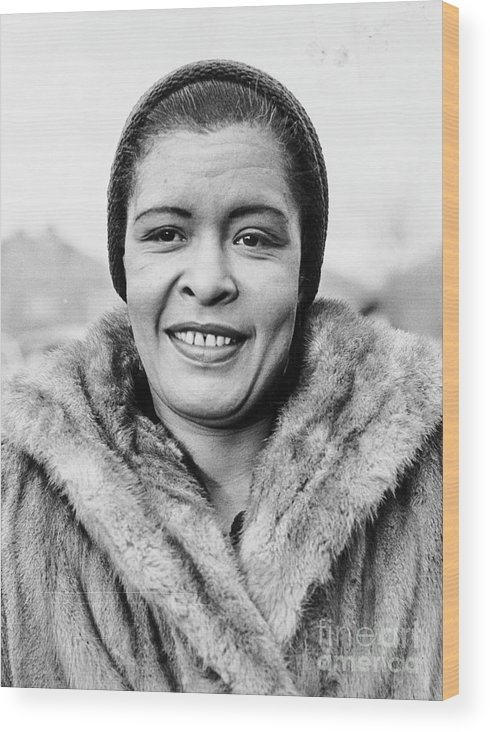 People Wood Print featuring the photograph Bilie Holliday Wearing Fur Coat by Bettmann