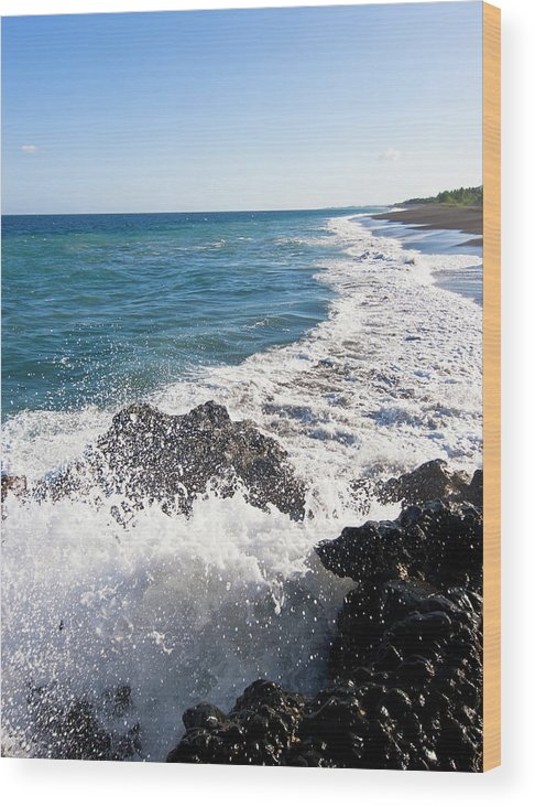 Long Wood Print featuring the photograph Black Sand Beach by Davorlovincic