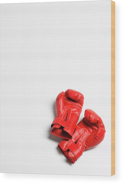 The End Wood Print featuring the photograph Boxing Gloves On White Background by Peter Dazeley