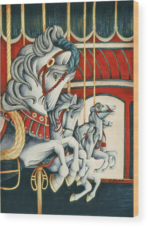 Carousel Race Wood Print featuring the painting Carousel Race by Carol J Rupp