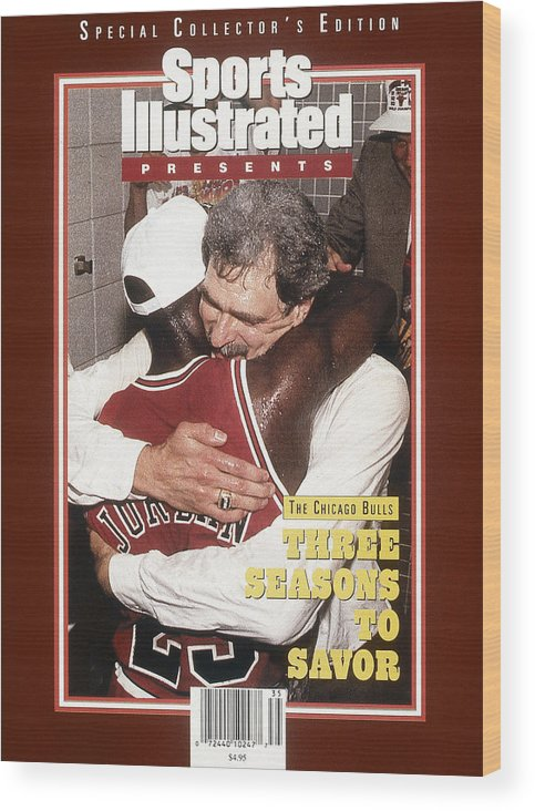 Chicago Bulls Wood Print featuring the photograph Chicago Bulls Coach Phil Jackson And Michael Jordan, 1993 Sports Illustrated Cover by Sports Illustrated