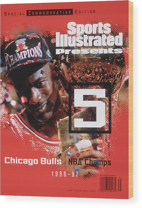 Playoffs Wood Print featuring the photograph Chicago Bulls Michael Jordan, 1997 Nba Champions Sports Illustrated Cover by Sports Illustrated