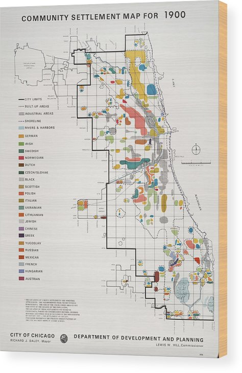 People Wood Print featuring the photograph Community Settlement Map, Chicago by Chicago History Museum