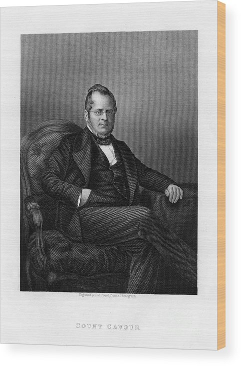 Engraving Wood Print featuring the drawing Count Camillo Benso Di Cavour, Italian by Print Collector