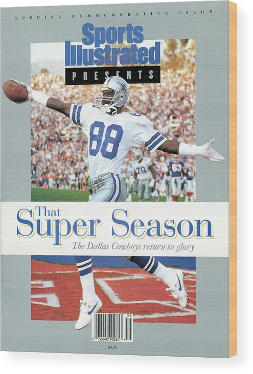 Scoring Wood Print featuring the photograph Dallas Cowboys Michael Irvin, Super Bowl Xxvii Sports Illustrated Cover by Sports Illustrated