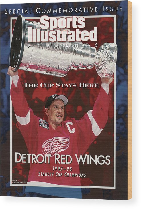 National Hockey League Wood Print featuring the photograph Detroit Red Wings Steve Yzerman, 1998 Nhl Finals Sports Illustrated Cover by Sports Illustrated