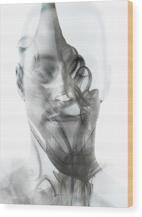 Spa Wood Print featuring the photograph Double Exposure Portrait Of A Sexy Man by Victor tongdee