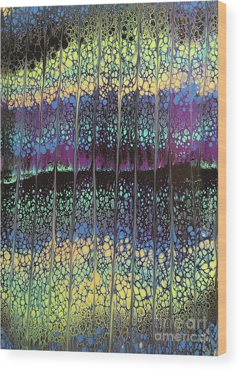 Poured Acrylic Wood Print featuring the painting Enchanted Forest by Lucy Arnold