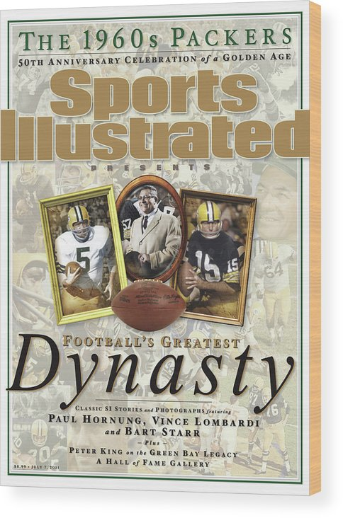 Celebration Wood Print featuring the photograph Footballs Greatest Dynasty The 1960s Packers Sports Illustrated Cover by Sports Illustrated