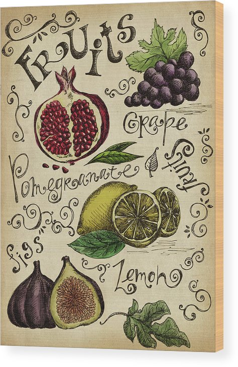 Doodle Wood Print featuring the digital art Fruits by Kalistratova