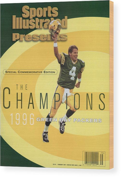 Super Bowl Xxxi Wood Print featuring the photograph Green Bay Packers Qb Brett Favre, Super Bowl Xxxi Sports Illustrated Cover by Sports Illustrated