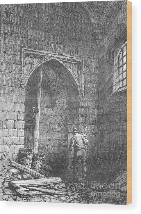 Working Wood Print featuring the drawing Guy Fawkess Cellar by Print Collector