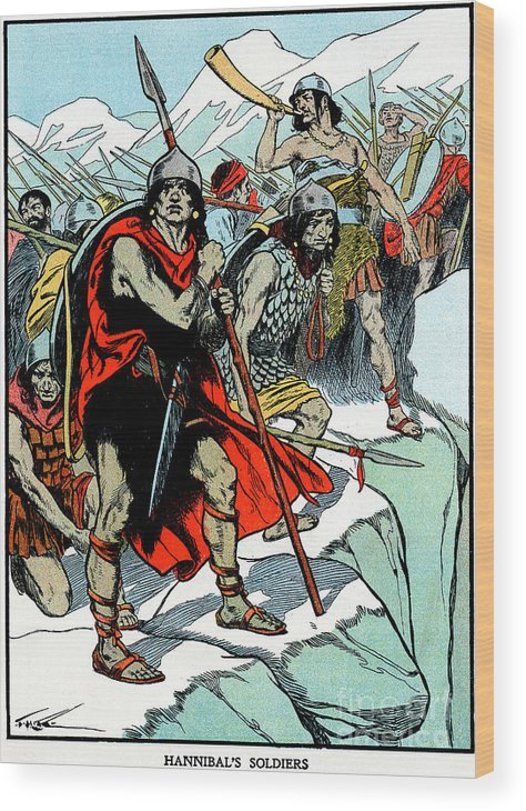People Wood Print featuring the drawing Hannibal Crossing The Alps, 218 Bc by Print Collector