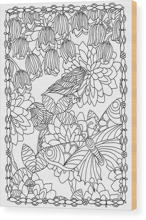 Coloring Books Wood Print featuring the drawing Hidden Images Book A - 42 by Kathy G. Ahrens