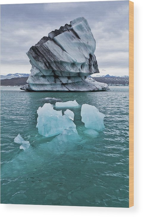 Iceberg Wood Print featuring the photograph Icebergs On Jokulsarlon Glacial Lagoon by Arctic-images