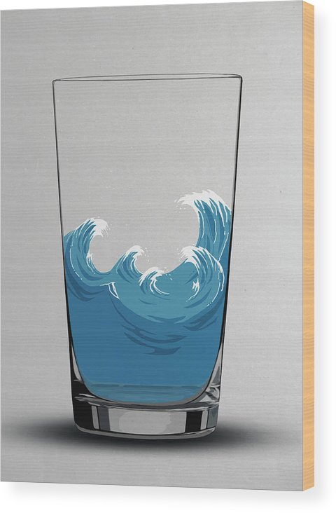 Concepts & Topics Wood Print featuring the digital art Illustration Of Choppy Waves In A Water by Malte Mueller