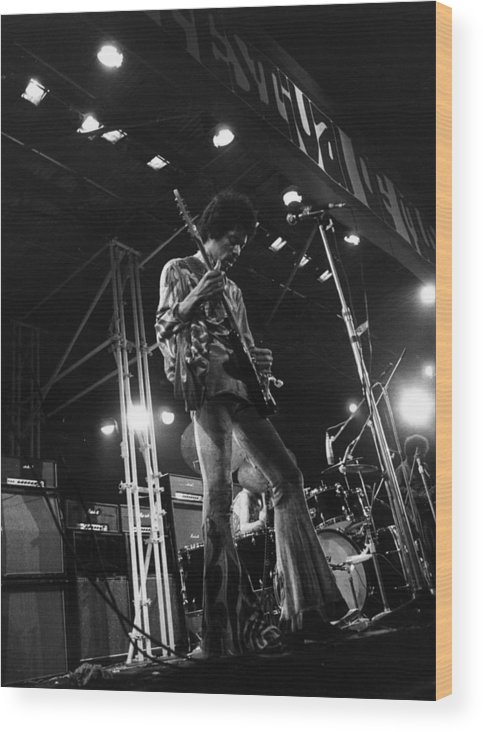 Rock Music Wood Print featuring the photograph Jimi At Festival by Evening Standard