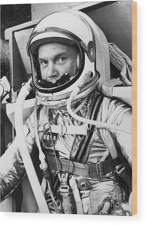 Headwear Wood Print featuring the photograph John Glenn In A Spacesuit Before Takeoff by Bettmann