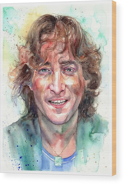 John Lennon Wood Print featuring the painting John Lennon Smiling by Suzann Sines