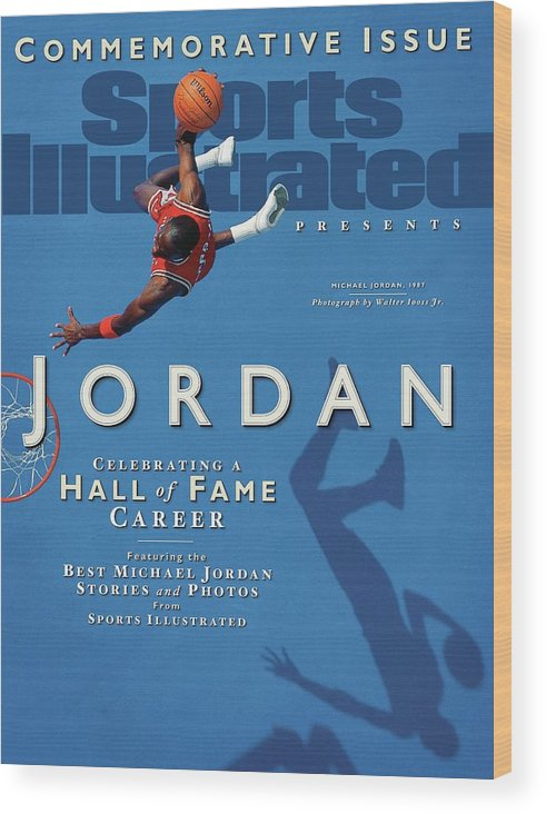 1980-1989 Wood Print featuring the photograph Jordan Celebrating A Hall Of Fame Career Sports Illustrated Cover by Sports Illustrated