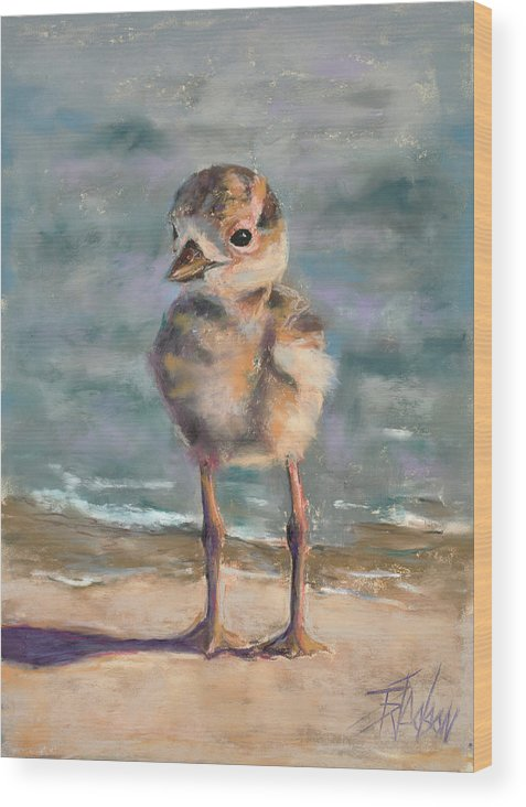 Sea Bird Wood Print featuring the pastel Knobby Knees by Billie Colson