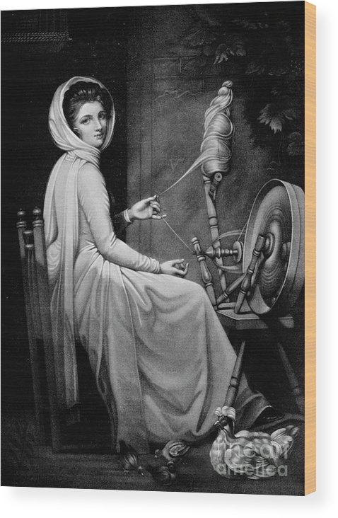 Oil Painting Wood Print featuring the drawing Lady Hamilton As The Spinstress by Print Collector