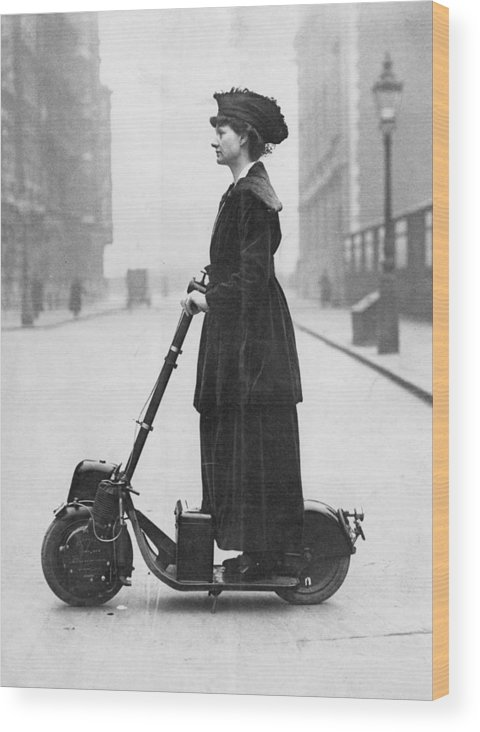 People Wood Print featuring the photograph Lady Normans Scooter by Fpg