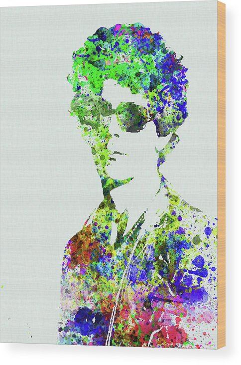 Bob Dylan Wood Print featuring the mixed media Legendary Bob Dylan Watercolor by Naxart Studio