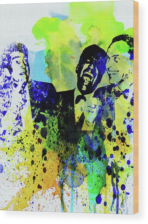 Rat Pack Wood Print featuring the mixed media Legendary Rat Pack Watercolor by Naxart Studio